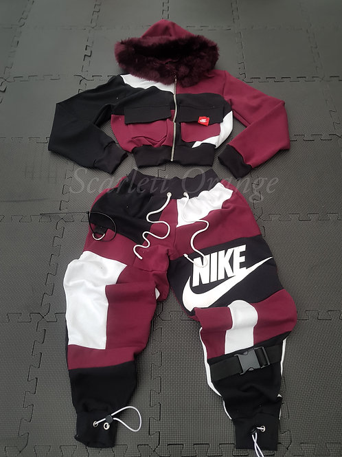 Reworked Nike Maroon joggers and cropped Jacket