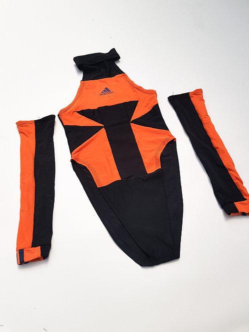 Eexclusive Orange and black Reworked Super high leg bodysuit
