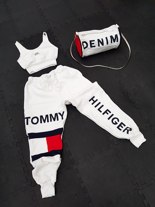 All white tommy and bag