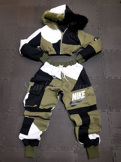 Reworked Khaki Green Nike Hoodie