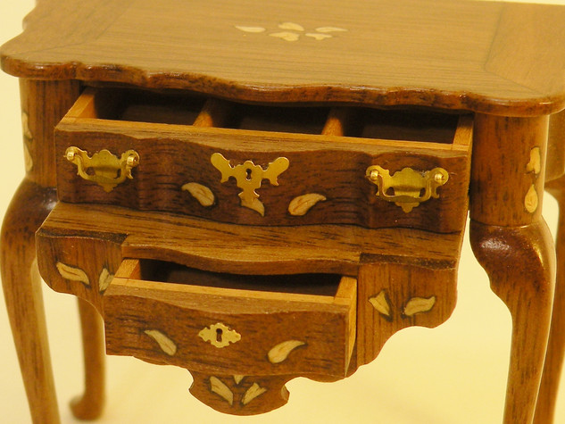 Marquetry Side Table and Pedestal
