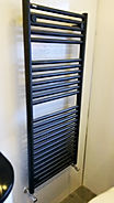 Anthracite grey towel radiator fitted by LM Plumbing Services near Chorley