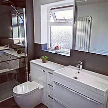 Family bathroom near chorley.  White bathroom furniture and walk in shower in Lancashire