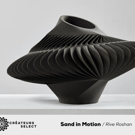 Sand in Motion collection / Rive Roshan  - Movement of sand caught in a moment of time. A collection of 8 collectible sand objects formed through 3D printing with the natural material itself.  The collection consist of various vessels, a chair, large mirror and side tables that are named after a particular movement that shaped their organic and kinetic identity, frozen in motion.  The sand objects consist of 98 percent Bavarian sand - an extremely soft white quartz natural material. Regardless of its fragile and tactile appearance, the object is amazingly strong.