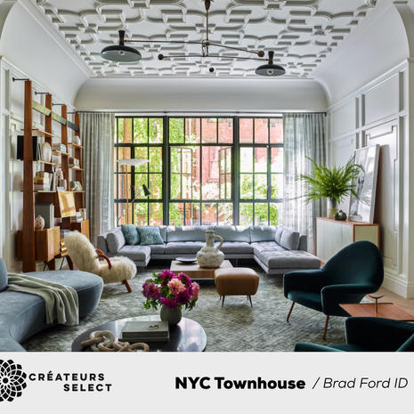 NYC Townhouse  Brad Ford ID  - Located on one of New York City's most bucolic tree-lined blocks, this stunning 21' wide townhouse is noteworthy for its handsome Italianate brick façade, and beautiful interiors. Sun-filled, open and airy, the 7411 square foot house is comprised of five stories, an immaculately finished basement, and over 1400 square feet of manicured gardens and terraces.