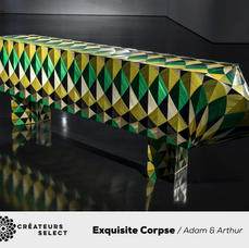 Exquisite Corpse / Adam & Arthur  - The name of the collection was drawn from the French parlour game of 'Cadavre Exquis', invented by the Surrealists in 1925. In the game, a player sketches a body part or other image on a piece of paper, before folding the paper to conceal what they've drawn and passing it on to the next player, and so on. The completed figures tend to be wildly inventive and frequently bizarre. The game relates to A&A's creative process and captures the wonderful tension in the duo's back and forth process; with form, patterns and colours bound only by the mandate to celebrate straw marquetry's dazzling visual effects.