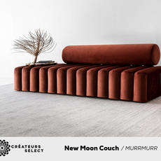 New Moon Couch MURRMURR  - The New Moon Couch is part of murrmurrs Moon collection. The phases of the moon and selestrial body inspred the design of the 6 pieces of which the New Moon Couch is the signature piece. The endless curves and lies create a mesmerising and elegant look. The couch is not only eye catching but suprisingly comfortable. It was the first piece designed by designer and owner of murrmurr, Mia Senekal.
