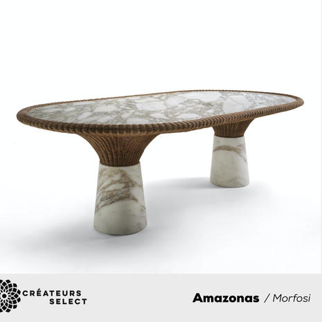 """Amazonas / Morfosi  - The """"Amazonas"""" collection, designed by Giorgio Bonaguro, represents the debut of Morfosi in the Outdoor area. Characterized by the use of marble combined with wicker, it is inspired by the luxuriant and exuberant nature of Brazil. As the vegetation of rainforest flows and spreads from the earth to the light, so the wicker is born from the marble and creates sinuous and elegant shapes that incorporate and support the stone. Two natural materials that are not simply combined, but intertwine to create new furnishing elements."""