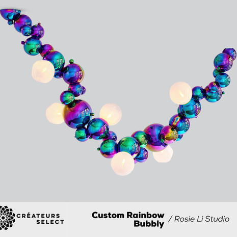 Custom Rainbow Bubbly Installation Rosie Li Studio  - We created this colorful Bubbly installation for a Manhattan living room designed by Frampton Co. Shown in a custom rainbow PVD finish with hand-blown opal glass.