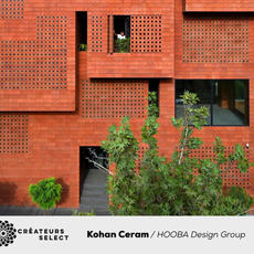 Kohan Ceram Central Office Building  HOOBA Design Group  - The project was designed as the headquarters for Kohan Ceram Brick Manufacturing Company. Preserving the existing concrete structure, the multifunctional complex was designed including a showroom, a sales office,. Integration of elements such as interior and exterior, introversion and extroversion, façade and space, transparency and solidity, natural and artificial lighting, creates a new phenomenon which not only carries features from both components, but also introduces new values to the system. In other words, design challenges were resolved by merging these dual components into unique elements.