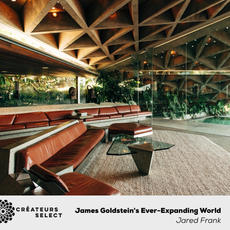 """James Goldstein's Ever-Expanding World  Written by Jared Frank Openhouse Magazine  Photo by Justin Chung & Graham Walzer  - """"James Goldstein's Every-Expanding World"""" tells the story of a man whose identity has been subsumed by the house he lives in. In 1973, a young businessman purchased a modern masterpiece, John Lautner's """"Sheats Residence,"""" which had fallen on hard times. Over the next 40 years, James obsessively restored, renovated, expanded and showcased his property in film and TV, making both it and himself famous.  Now in his twilight years, he looks back and considers who really controls a home's legacy, the architect or the client?"""