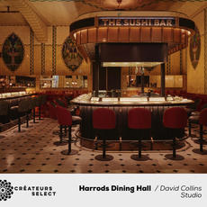 Harrods Dining Hall  David Collins Studio  - David Collins Studio designed the Harrods Dining Hall, as part of a 4 year renovation of the department store's historic food halls. The 491 sqm hall delivers a restaurant counter experience for 194 covers within the ground floor of one of the world's most iconic department stores. Upon entry, guests are immediately greeted with the theatre of food preparation and provenance. 5 stand-alone counter dining experiences (The Sushi Bar, The Grill, The Fish Bar, Kama by Vineet, The Pasta Bar) wrap around the room, with a Wine Bar counter in the centre.