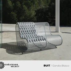BUIT / Gandia Blasco  - BUIT is the new outdoor furniture collection designed by Mayice Studio for the GANDIABLASCO brand. Mayice is a multi-disciplinary studio with its headquarters in Madrid founded by architects Marta Alonso Yebra and Imanol Calderón Elósegui in 2014. For their creations they like to work with local craftsmen and women through detailed research into materials and processes. BUIT features aluminium, the material of choice for GANDIABLASCO, which after researching its resistance and ergonomics, is used to create pieces that form a modular collection including a simple armchair and a pouffe made from an aluminium mesh, woven with a special padded textile for the outdoors, Febrik Kvadrat.