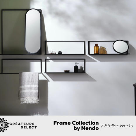 """Frame Collection by Nendo / Stellar Works  - Frame is a simple L-shaped steel frame system that has been designed for a multitude of purposes. It can be hung on a wall as a towel rail, holding a mirror at two points and can be transformed into a shelf. It can be customised with small circular mirrors or longer elliptical mirrors to use in combination with shelves and towel bars. There are also floor mirrors which allow frame to be used as a free-standing mirror with garment racks. On the collaboration, Nendo says: """"I feel that one of the strongest characteristics of Stellar Works is the design and functionality of their pieces, which mean that they can be used in both home and hospitality/contract environments. Therefore, we started our design thinking by taking a similar approach to these collections for the brand."""""""