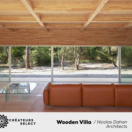 """Wooden Villa  nicolas dahan architects  - """"A space to live and move within the pine forest"""". The wooden villa is a see-through heaven inviting the beauty of its surrounding environment inside. A seamless wonder built with unique expertise of the best wood engineers. The floor and the ceiling mirrors each other's dimensions, breaking down all notions of hierarchy. The Eyesight glides between pine trees and interior perspectives, feet wander with ease from the warm sand - outside onto the softness the okoume wood flooring - indoors."""
