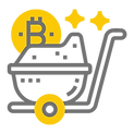Dieses Bild zeigt eine Karre, in der Bitcoin lagern. Es zeigt den Mining Ablauf.