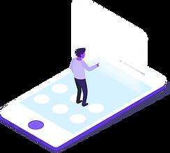 In dieser technischen Grafik ist ein Smartphone zu erkennen, auf dem ein Mann herumläuft. Das Handy ist deutlich überproportioniert. Auf diesem ist ein mobile Wallet.