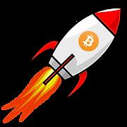 Dieses Bild zeigt einen Krypto Instagram Sticker. Man sieht eine Rakete mit orangenem Bitcoin Symbol auf Ihr.