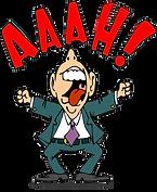 In diesem Bild ist ein Mann im Anzug gezeigt. Er ist sehr verärgert und ein roter Spruch ist über seinem Kopf.