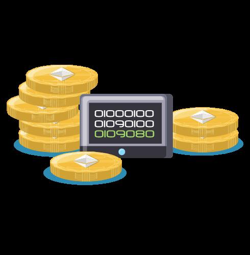 Auf diesem Bild sind mehrer Münzen und ein Computer Element zu sehehn. Auf dem Computer Stück ist ein Code zu sehen. Die Münzen sind gelb und tragen das Ethereum Logo.