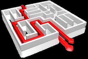 In dieser Vektorgrafik ist eineißes Labyrinth dargestellt. Von oben erkennt man einen roten Faden, der sich von vorne bis zum Ende des Labyriths zieht.