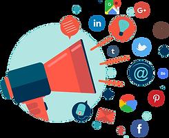 Diese Grafik zeigt einen großen Lautsprecher. Aus Ihm heraus schallen verschiedenen Symbole, z.B. Logos von Social Media Plattformen.
