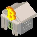 Hier ist ein Gebäude sichtbar, welches aussieht wie ein Gericht. Auf dem Dach in ein großes, gelbes Bitcoin Symbol zu erkennen.