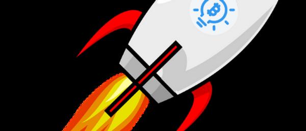 Bitcoin Rakete blau