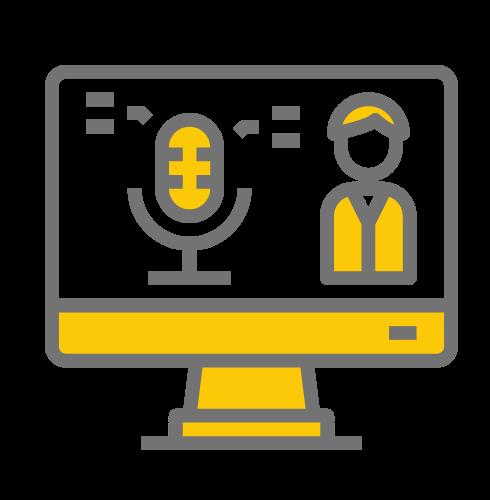 Hier sieht man ein Bildschirm mit einem Mikrofon und einer Person auf dem Display. Der Bildschirm Rand ist gelb und grau.