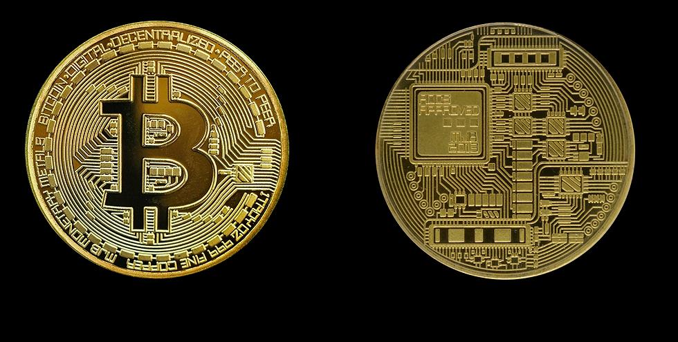 Auf disem Bild sind zwei sehr große Bitcoin Münzen zu sehen. Der Hintergrund ist Schwarz.