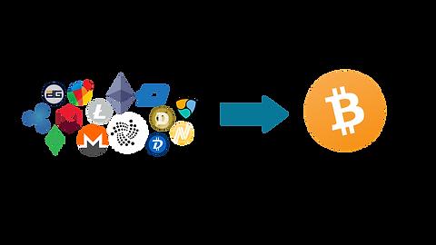 Hier ist auf der rechten Seite das Bitcoin Symbol in der Farbe orange. Auf der linken Seite sind viele einzelne Kryptowährungen in einem Bild vereint. Beide Bilder sind mit einem Pfeil verbunden.