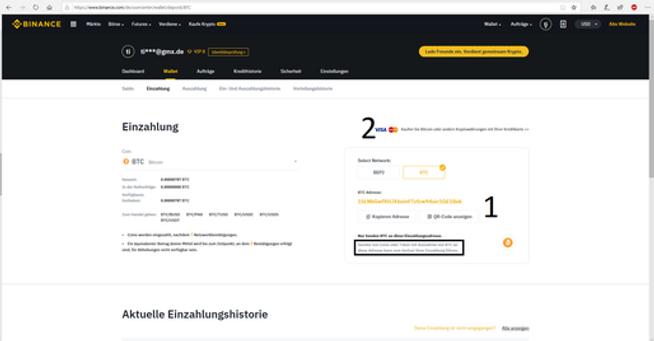 Deies Bild st ein Screensot aus Binance.com. Auf dem Bild ekennt der utzer wie man Mil auf Binance einzahlen kann