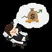 Afu diesm gezeichneen Bi ld ist ein Mann im Anzug mit Geld in seiner Gedankenblase