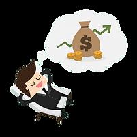 In diesem gezeichneten Bild ist ein Mann in Anzug dargestellt. In seiner Gedankenblase ist Geld und Reichtum zu sehen.