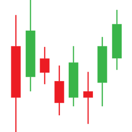 Auf diese Bild sind grüne und rote Kerzen darestelt. Sie snd Teil eienes trading Chart.
