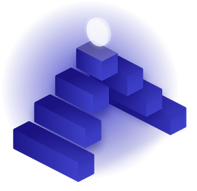 Diese futuristische Grafik zeigt eine Art Pyramide mit einem leuchteten Element an der Spitze.