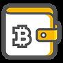 Hier sieht man einen Grafik in den gold und weiß. Sie trägt ein Bitcoin Symbol und symbolisiert eine Krypto Wallet.