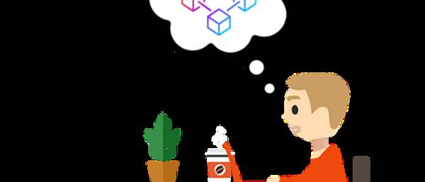 Mann denkt an Blockchain