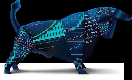Auf diesem Bild ist ein Bulle zu sehen sehen. Er steht für den Bullenmarkt am Aktien Markt, was durch die Chart Diagramm zu sehen ist, die auf ihm gedruckt sind.