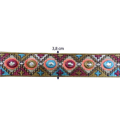 GLX101 - Galão bordado colorido 3,8 cm
