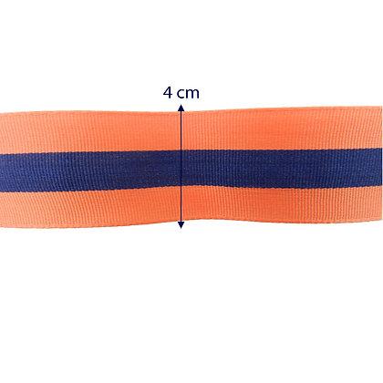 Gorgurão 4 cm - laranja e azul