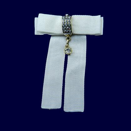 Laço branco com strass - 8,5 x 6,5 cm