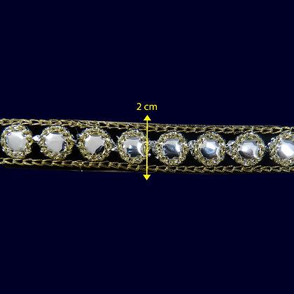 GLX95 - Fita bordada com espelhado 2 cm