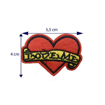 DXT223 - Patche termocolante - Coração com escrita