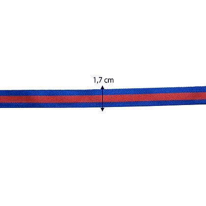 Gorgurão azul e vermelho - 1,7 cm