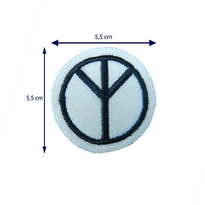 DXT111 - Patche termocolante símbolo paz e amor