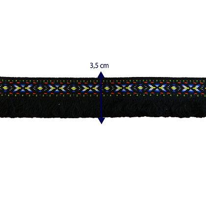 GLX82 - Galão étnico preto com franjas