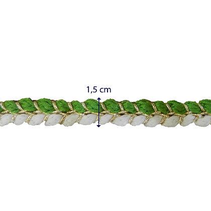 GLX109 - Galão trançado 1,5 cm verde e branco.