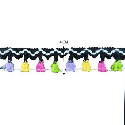 DXE100 - Tassel colorido em metro 4 cm.