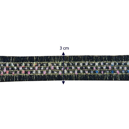 GLX53 - Galão bordado com glitter - 3 cm